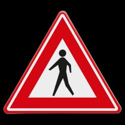 Verkeersbord U nadert een niet gemarkeerde voetgangers oversteekplaats Verkeersbord RVV J23 - Vooraanduiding voetgangers-oversteekplaats J23 wandelaars,
