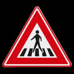 Verkeersbord Voetgangersoversteekplaats met een zebrapad Verkeersbord RVV J22 - Vooraanduiding voetgangers-oversteekplaats J22