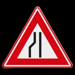 Verkeersbord Rijbaanversmalling links / naar rechts uitwijken. Verkeersbord RVV J19 - Vooraanduiding rijbaanversmalling links J19