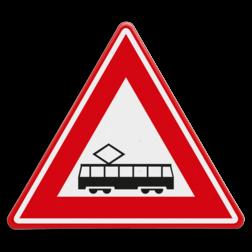 Verkeersbord Je nadert een tram(kruising) Verkeersbord RVV J14 - Vooraanduiding tramkruising J14 spoor, rails,
