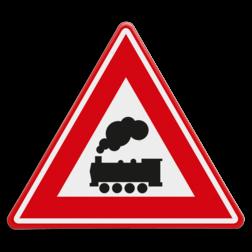 Verkeersbord Je nadert een onbewaakte overweg Verkeersbord RVV J11 - Vooraanduiding overweg zonder slagbomen J11 spoorwegen,