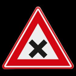 Verkeersbord gevaarlijk kruispunt Verkeersbord RVV J08 - Vooraanduiding gevaarlijk kruispunt J08