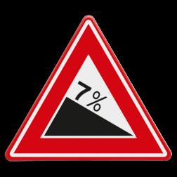 Verkeersbord Vooraanduiding Gevaarlijke daling Verkeersbord RVV J07 - Voorwaarschuwing Gevaarlijke Daling J07