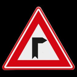 Verkeersbord Vooraanduiding haakse bocht naar rechts Verkeersbord - Vooraanduiding haakse bocht naar rechts