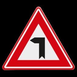 Verkeersbord Vooraanduiding haakse bocht naar links Verkeersbord - Vooraanduiding haakse bocht naar links