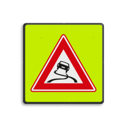 Verkeersbord Slipgevaar (glad wegdek) Verkeersbord RVV J20f - FLUOR Slipgevaar J20f