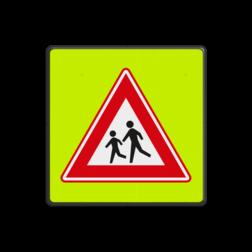 Verkeersbord Vooraanduiding overstekende kinderen Verkeersbord RVV J21f - FLUOR Overstekende Kinderen J21f