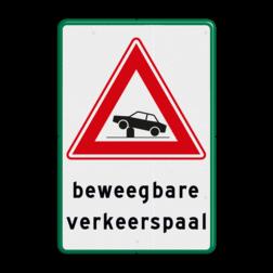 Verkeersbord Waarschuwing voor elektrische in- en uitschuifbare paal in de rijbaan (poller) waarmee toegankelijkheid van straten en gebieden kan worden geregeld Verkeersbord RVV J39 - Vooraanduiding verkeerspaal + ondertekst pollers, rampaal, hydraulische, obstakel, elektrische paal, beweegbaar