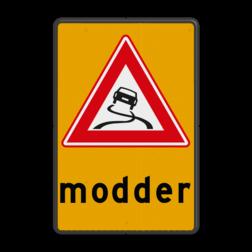 Waarschuwingsbord slipgevaar door modder J20 met tekst