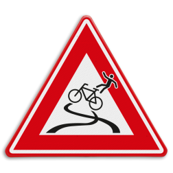 Verkeersbord - waarschuwing slipgevaar fietsers cadeau, kado, fietsersbond, rijplaten