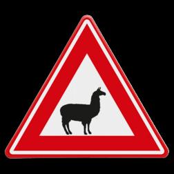 Verkeersbord Let op lama's / Alpaca's Verkeersbord - waarschuwing voor lama's of Alpaca's dieren, dierentuin,