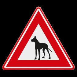 Verkeersbord Pas op voor de waakhond Verkeersbord - waarschuwing Waakhond dier, bewaking