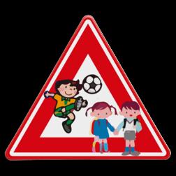 Verkeersbord Let op voor spelende kinderen Verkeersbord - waarschuwing voor spelende kinderen spelende, J21,