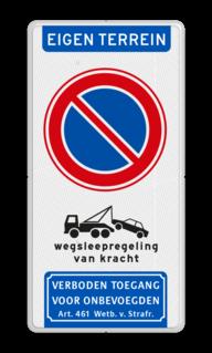 Product Parkeerverbod met wegsleepregeling en verboden toegang pictogrammen Parkeerverbod - wegsleepregeling - verboden toegang - BT23 BT23