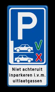 Verkeersbord Vooruit inparkeren verplicht Verkeersbord - Niet achteruit inparkeren (vooruit inparkeren) BT21a