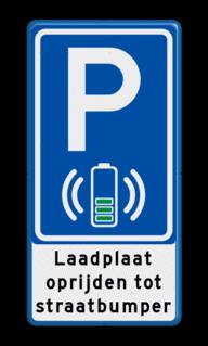 Parkeerbord Parkeerplaats + oplaadpunt met laadplaat voor elektrische auto's Parkeerbord RVV E08O - laadplaat + tekst - BE04g BE04g wireless charge, e-laad, contactloos laden, BE04, E08o - oplaadpunt -, uitsluitend, elektrische, auto's, BW101 SP19 - autolaadpunt, autolaadpunt, oplaadpalen, oplaadpaal, BE04