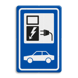 Verkeersbord Parkeerplaats met oplaad punt - Parkeergelegenheid alleen bestemd voor elektrische voertuigen Verkeersbord RVV BW101_SP19 - auto laadpunt BW101_SP19