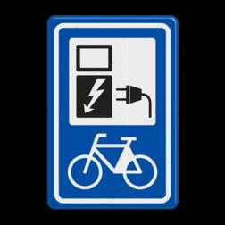 Verkeersbord Oplaadpunt elektrische fietsen Verkeersbord RVV BW101_SP20 Oplaadpunt elektrische fiets BW101_SP20