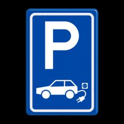 Verkeersbord elektrische auto - BE04a E8, E08, Parkeerbord, parkeerplaats, eigen plaats, parkeren, RVV E04, p bord, BW101 SP19 - autolaadpunt, autolaadpunt, oplaadpalen, oplaadpaal, BE04, elektrisch, Opladen, Laadpaal