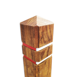 Diamantkoppaal hardhout (FSC) met twee reflecterende bandjes diamantkop, paal, bermpaal, kunststof, recycling, afzetpaal, reflectorpaal, parkeerpaal