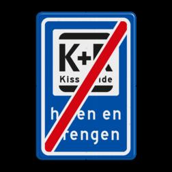 Verkeerbord Einde parkeergelegenheid ten behoeve van het afzetten van iemand. Verkeerbord RVV L52e KISS & RIDE - halen en brengen L52e kiss, ride , overstapplaats, overstappen, E12, zoen en zoef, p r, p+r, k r , k+r, L52