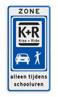 Informatiebord Zone voor parkeergelegenheid ten behoeve van het afzetten van iemand, Het zogenaamde zoen en zoef verkeersbord Informatiebord ZONE KISS & RIDE - pictogrammen ZONE, Kiss + Ride, alleen tijdens, schooluren, parkeerplaats, parkeerplek, kiss, ride , overstapplaats, overstappen, E12,  zoen en zoef, L52b, L52e, L52