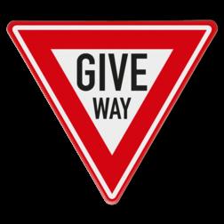 Verkeersbord GIVE WAY B07, Kruising, B6, voorrang, verlenen, geven, kruising, kruispunt