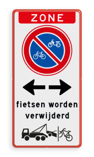 Parkeerbord Zone + RVV E03 + picto + tekst + picto Parkeerbord Zone + RVV E03 + wegsleepregeling fietsen + tekst Eigen terrein, RVV E03, picto, wegsleepregeling, fietsen, worden, verwijderd, pijlen, zone