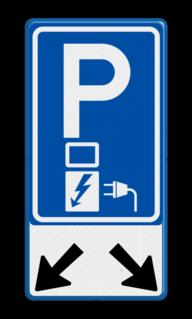 Verkeersbord 2 Parkeerplaatsen met oplaad punt - Parkeergelegenheid alleen bestemd voor elektrische voertuigen Verkeersbord RVV E08o - oplaadpunt + pijlen - BE04b E08o-OB504