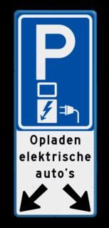 Verkeersbord 2 Parkeerplaatsen met oplaad punt - Parkeergelegenheid alleen bestemd voor elektrische auto's Verkeersbord parkeren elektrische auto's voor 2 vakken E08o-OB504a