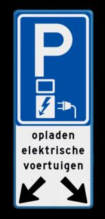 Verkeersbord 2 Parkeerplaatsen met oplaad punt - Parkeergelegenheid alleen bestemd voor elektrische voertuigen Verkeersbord parkeren elektrische voertuigen voor 2 vakken E08o-OB504v