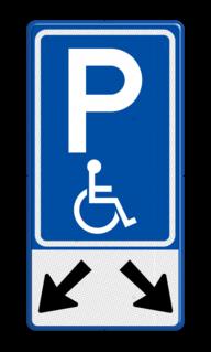 Verkeersbord Parkeerplaats mindervalide - Parkeergelegenheid alleen bestemd voor voertuigcategorie, of groep voertuigen, die op het bord is aangegeven Verkeersbord RVV E06-OB504 Parkeren mindervaliden 2 vakken E06-OB504