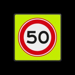 Verkeersbord Maximum toegestane snelheid 50 kilometer per uur Verkeersbord RVV A01-050f - Maximum snelheid 50 km/h A01-050f