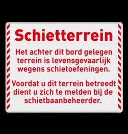 Informatiebord Schietterrein Defensie logobord, eigen ontwerp, KFC, speciale borden, camper, aanhanger, caravan