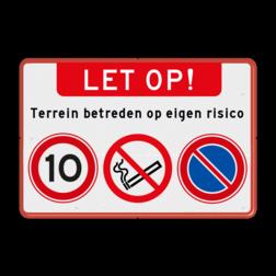 Waarschuwingsbord Waarschuwingsbord + verboden roken-parkeren + snelheid Waarschuwingsbord + verboden roken-parkeren + snelheid