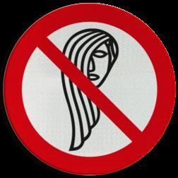 Product Loshangend lang haar verboden (geen officieel NEN-EN-ISO pictogram) Pictogram - Loshangend lang haar verboden