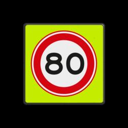 Verkeersbord Maximum toegestane snelheid 80 kilometer per uur Verkeersbord RVV A01-080f - Maximum snelheid 80 km/h A01-080f