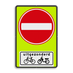 Verkeersbord Eenrichtingsweg, in deze richting gesloten voor voertuigen, ruiters en geleiders van rij- of trekdieren of vee. uitgezonderd fietsers en bromfietsers Verkeersbord RVV C02OB54f - Eenrichtingsweg met uitzondering - fluor achtergrond C02-OB54f