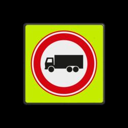 Verkeersbord Gesloten voor vrachtverkeer Verkeersbord RVV C07f - Gesloten voor vrachtverkeer - fluor achtergrond C07f