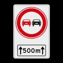 Verkeersbord Voertuigen verboden in te halen over aangegeven lengte Verkeersbord RVV F01OB411 met ondertekst F01OB411