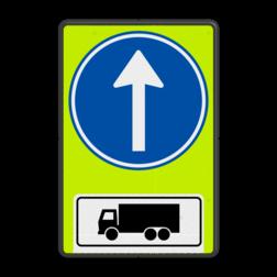 Verkeersbord Gebod voor vrachtverkeer tot het volgen van de rijrichting of één van de rijrichtingen die op het bord zijn aangegeven Verkeersbord RVV D04OB11f - Verplichte rijrichting rechtdoor voor vrachtwagens D04OB11f