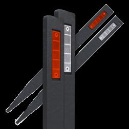 Bermpaal zwart - gerecycled kunststof - 1200x90x30mm + reflector(en) reflectorpaal, berm, afzetpaal, gerecycled, kunststof, bermreflector, bermpaaltje, bermplank