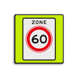 Verkeersbord Zone maximum toegestane snelheid 60 kilometer per uur, geldig tot einde zone. Verkeersbord RVV A01060zbf - Maximum snelheid 60 km/h A0160zbf