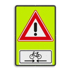 Verkeersbord Vooraanduiding oversteekplaats fietsers Verkeersbord RVV J37OB503OB02f - FLUOR overstekende fietsers J37OB503OB02f