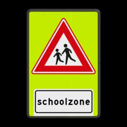 Verkeersbord Vooraanduiding overstekende schoolkinderen Verkeersbord RVV J37f - FLUOR Schoolzone J21f
