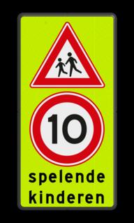 Verkeersbord Spelende kinderen + maximumsnelheid Verkeersbord Spelende kinderen RVV J21 + A1-10