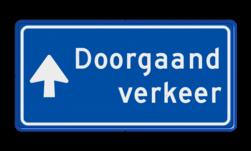 Verkeersbord Route doorgaand verkeer; ga hier rechtdoor Verkeersbord RVV BB100b BB100b