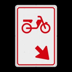 Verkeersbord bromfietsers zijn verplicht bord te passeren aan de richting die de pijl aangeeft. Van rijbaan verwisselen. Verkeersbord RVV D103 - Bromfietsers rijbaan wisselen D103