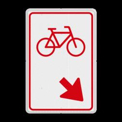 Verkeersbord Fietsers zijn verplicht bord te passeren aan de richting die de pijl aangeeft. Van rijbaan verwisselen. Verkeersbord RVV D101 - Fietsers van rijbaan wisselen D101