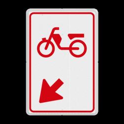 Verkeersbord bromfietsers zijn verplicht bord te passeren aan de richting die de pijl aangeeft. Van rijbaan verwisselen. Verkeersbord RVV D104 - Bromfietsers rijbaan wisselen D104